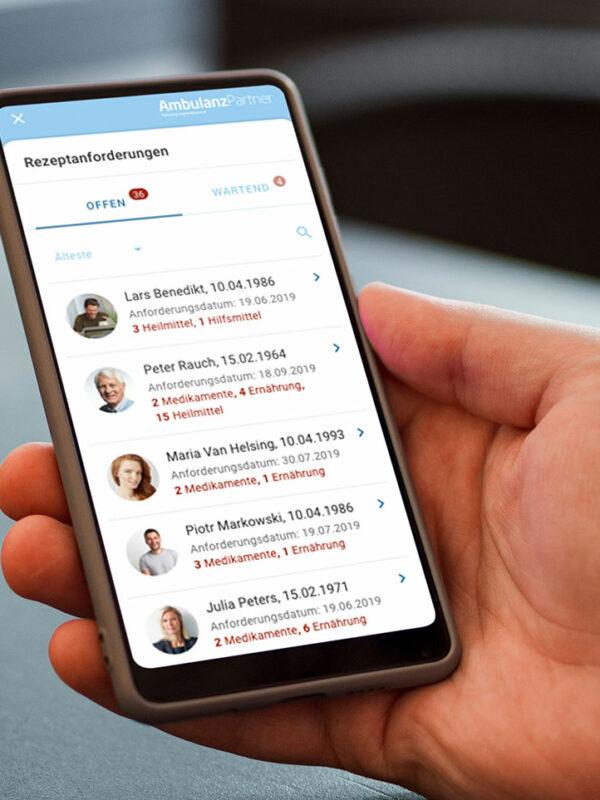 Ambulanzpartner online care platform on mobile screen
